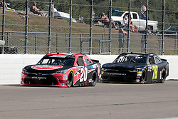July 21, 2018 - Loudon, NH, U.S. - LOUDON, NH - JULY 21: Christopher Bell, Xfinity Series driver of the Rheem Toyota (20), slips past Tommy Joe Martins, Xfinity Series driver of the JW Transport LLC Chevrolet (78), during the Xfinity Series Lakes Region 200 on July 21, 2018, at New Hampshire Motor Speedway in Loudon, New Hampshire. (Photo by Fred Kfoury III/Icon Sportswire) (Credit Image: © Fred Kfoury Iii/Icon SMI via ZUMA Press)