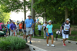 May 26, 2018 - Ann Arbor, Michigan, United States - Nasa Hataoka of Japan and caddy crosses the footbridge on her way to the 7th hole during the third round of the LPGA Volvik Championship at Travis Pointe Country Club, Ann Arbor, MI, USA Saturday, May 26, 2018. (Credit Image: © Jorge Lemus/NurPhoto via ZUMA Press)