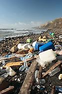 Drift wood and rubbish accumulated on the beach at Kimmeridge Bay, Dorset.