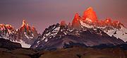 Dawn, Cerro Torre (left) and FitzRoy from La Quinta estancia on edge Parque Nacional Los Glaciares, Patagonia, Argentina.
