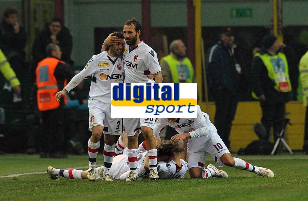 """esultanza dopo il gol di Marco DI VAIO (Bologna) goal celebration<br /> Milano 17/02/2012 Stadio """"Giuseppe Meazza""""<br /> Serie A 2011/2012<br /> Football Calcio Inter Vs Bologna<br /> Foto Insidefoto Alessandro Sabattini"""