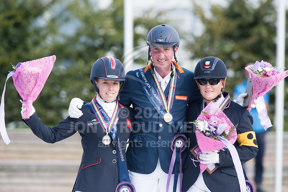 Frank Hosmar (NED) with Sophie Wells (GBR) and Carolin Schnarre (GER) - Freestyle - Para-Dressage FEI European Championships Deauville 2015 - Pole International du Cheval, Deauvile, Normandy, France - 20 September 2015