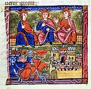 Council of Acre and the siege of Damascus (1097-1098), 2nd Crusade. From William of Tyre 'Histoire d'outremer'  ('History of Palestine'), illuminated manuscript, Acre, c1280.  William of Tyre (c1130-1185) Syrian churchman.
