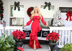 EXCLUSIVE: Gretchen Rossi stuns in a fancy red gown as she readies her home for the Christmas season. The former RHOC star loves the festive season and completley transforms her beautiful Costa Mesa, Ca home into a winter wonderland with the help of her hubby. 04 Dec 2017 Pictured: Gretchen Rossi. Photo credit: MOVI Inc. / MEGA TheMegaAgency.com +1 888 505 6342
