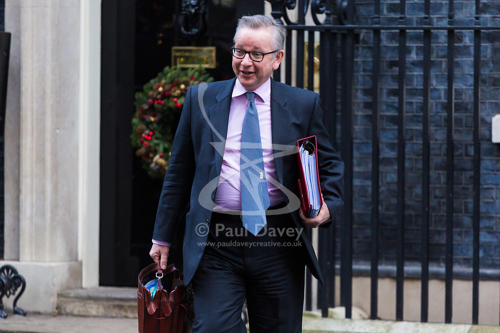 London, December 19 2017. Secretary of State for Environment, Food and Rural Affairs Michael Gove leaves 10 Downing Street following the last cabinet meeting before the Christmas break. © Paul Davey
