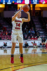 NORMAL, IL - February 07: Paige Saylor shoots for three during a college women's basketball game between the ISU Redbirds and the Braves of Bradley University February 07 2020 at Redbird Arena in Normal, IL. (Photo by Alan Look)