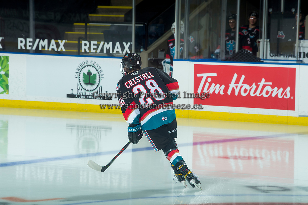 KELOWNA, BC - MARCH 26: Forward Andrew Cristall #28 of the Kelowna Rockets warms up with a solo lap to commemorate his first WHL game against the Victoria Royals at Prospera Place on March 26, 2021 in Kelowna, Canada. (Photo by Marissa Baecker/Shoot the Breeze)