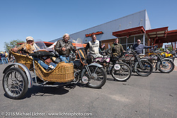 These four Harley-Davidsons have done every mile, every day of the Motorcycle Cannonball Race of the Century.  Pictured with their bikes are Dawn Hamilton and Doc Hopkins of WI, Scott Byrd of AR, Eric Bahl of AL, and Jon Neuman of CA taken during today's lunch stop at Mother Road Harley-Davidson in Kingman, AZ.  Stage-13 ride from Williams, AZ to Lake Havasu CIty, AZ. USA. Friday September 23, 2016. Photography ©2016 Michael Lichter.