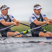 Chris Harris & John Storey New Zealand elite  Mens Double Scull<br /> <br /> Racing the heats at FISA World Rowing Cup III on Friday 12 July 2019 at the Willem Alexander Baan,  Zevenhuizen, Rotterdam, Netherlands. © Copyright photo Steve McArthur / www.photosport.nz
