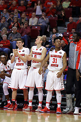 """26 November 2016:  Bench celebration includes Matt Hein(5), Isaac Gassman(0), Javaka Thompson(31), and Daouda """"David"""" Ndiaye (4) during an NCAA  mens basketball game between the IUPUI Jaguars the Illinois State Redbirds in a non-conference game at Redbird Arena, Normal IL"""
