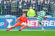 Scott Sinclair(#11) of Celtic FC scores a penalty against Zdenek Zlamal (#1) of Heart of Midlothian during the Betfred League Cup semi-final match between Heart of Midlothian FC and Celtic FC at the BT Murrayfield Stadium, Edinburgh, Scotland on 28 October 2018.