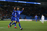 Armand Traore of Cardiff city celebrates after he scores his teams1st  goal. EFL Skybet championship match, Cardiff city v Bolton Wanderers at the Cardiff city Stadium in Cardiff, South Wales on Tuesday 13th February 2018.<br /> pic by Andrew Orchard, Andrew Orchard sports photography.