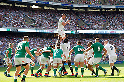 George Kruis of England wins the ball at a lineout - Mandatory byline: Patrick Khachfe/JMP - 07966 386802 - 24/08/2019 - RUGBY UNION - Twickenham Stadium - London, England - England v Ireland - Quilter International