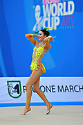 Urushadze Salome during qualifying at clubs in Pesaro World Cup at Adriatic Arena on April 11, 2015. Salome was born in Tbilisi on August 27,1998. She is a rhythmic gymnast member of the Georgian National Team.