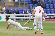 Nick Selman drives Chris Wright during the Specsavers County Champ Div 2 match between Glamorgan County Cricket Club and Leicestershire County Cricket Club at the SWALEC Stadium, Cardiff, United Kingdom on 16 September 2019.