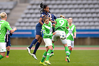 Marie Antoinette Katoto / Vanessa Bernauer - 26.04.2015 - Paris Saint Germain / Wolfsbourg - 1/2Finale Champions League feminine<br />Photo : Andre Ferreira / Icon Sport