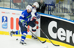 Andrej Tavzelj of Slovenia vs Matt Hendricks of USA during Ice Hockey match between Slovenia and USA at Day 10 in Group B of 2015 IIHF World Championship, on May 10, 2015 in CEZ Arena, Ostrava, Czech Republic. Photo by Vid Ponikvar / Sportida
