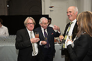 FRANK COHEN; DAVID STARKEY; CHARLES SAUMERAZ SMITH; CHERYL COHEN, Dinner and a performance and film screening from Carnet de and Mike Figgis (who has created a film especially for the event)  to celebrate David Tang and to mark the start of construction of the RA's £50 million redevelopment project.  Royal Academy. Piccadilly. London. 26 October 2015.