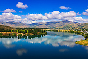 The Kawarau river and town of Cromwell, Central Otago, South Island, New Zealand