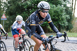 Amy Roberts eyes the top of the climb - Le Samyn des Dames 2016, a 113km road race from Quaregnon to Dour, on March 2, 2016 in Hainaut, Belgium.
