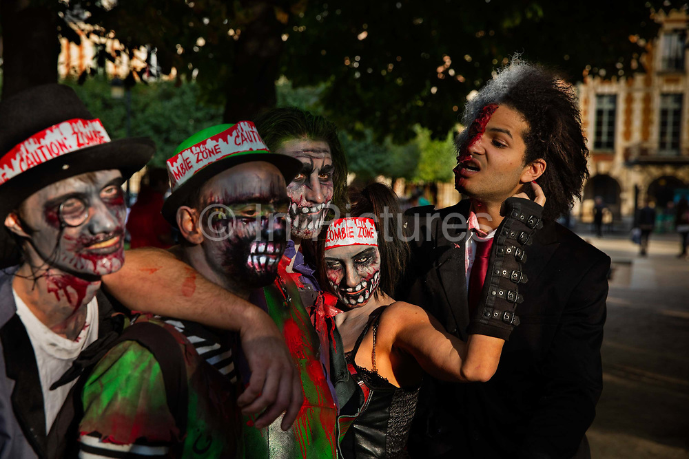 Some of the 2000 Goules who took part in the Zombie Walk, 8th October 2016, Paris, France. The walk went from Place de la Republique and finished at Place des Vosges. The event, an apocalyptic parade through Paris's historic downtown. Zombie walks as annual traditions are now relatively common in large cities, especially in North America.