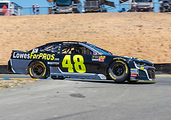 June 22, 2018 - Sonoma, CA, U.S. - SONOMA, CA - JUNE 22: Jimmie Johnson, driving the #(48) Chevrolet for Hendrick Motorsports negotiates turn 8 on Friday, June 22, 2018 at the Toyota/Save Mart 350 Practice day at Sonoma Raceway, Sonoma, CA (Photo by Douglas Stringer/Icon Sportswire) (Credit Image: © Douglas Stringer/Icon SMI via ZUMA Press)