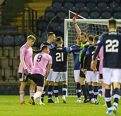 Raith Rovers Dave McKay tackles Peterhead's Rory McAllister and gets his second yellow card from ref Gavin Ross. Raith Rovers 2 v 1 Peterhead, Scottish Football League Division One played 4/1/2020 at Stark's Park, Kirkcaldy.
