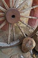 Wooden Wagon wheel decor at Leo Carillo Ranch Historic Park, near Carlsbad, San Diego County, California