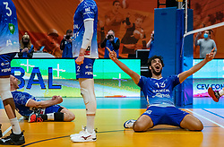 Dennis Borst of Lycurgus, Hossein Ghanbari of Lycurgus celebrate during the cup final between Amysoft Lycurgus vs. Draisma Dynamo on April 18, 2021 in sports hall Alfa College in Groningen