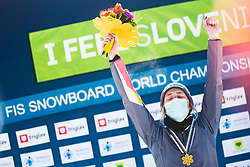 Joerg Selina (GER) during medal ceremony after parallel giant slalom FIS Snowboard Alpine world championships 2021 on 1st of March 2021 on Rogla, Slovenia, Slovenia. Photo by Grega Valancic / Sportida