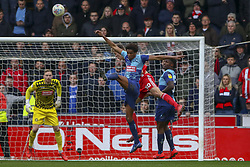 March 9, 2019 - High Wycombe, Buckinghamshire, United Kingdom - Wycombe's Sido Jombati clears the ball during the Sky Bet League 1 match between Wycombe Wanderers and Sunderland at Adams Park, High Wycombe, England  on Saturday 9th March 2019. (Credit Image: © Mi News/NurPhoto via ZUMA Press)