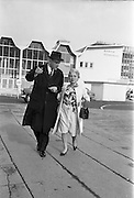 25/09/1962<br /> 09/25/1962<br /> 25 September 1962<br /> Mrs Ida Rosenthal arrives at Dublin Airport. Mrs Rosenthal, Founder and Chairman of the board of Maidenform Inc., U.S.A., arrived for a two day visit to Ireland. She would appear on Telefis Eireann; visit a number of Dublin stores and hold a reception at the Gresham Hotel to celebrate 40 years of business. Picture shows Mr Robert Briscoe TD (left) escorting Mrs Rosenthal at the airport.