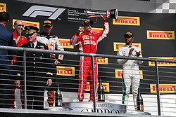 October 21, 2018 - Austin, TX, U.S. - AUSTIN, TX - OCTOBER 21: Ferrari driver Kimi Raikkonen (7) of Finland holds winning trophy after winning the F1 United States Grand Prix on October 21, 2018, at Circuit of the Americas in Austin, TX. (Photo by John Crouch/Icon Sportswire) (Credit Image: © John Crouch/Icon SMI via ZUMA Press)