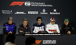 "November 8, 2018 - SãO Paulo, Brazil - SÃO PAULO, SP - 08.11.2018: GRANDE PRÊMIO DO BRASIL DE FÃ""RMULA 1 2018 - The drivers (and / d) Brendon HARTLEY, Kevin MAGNUSSEN, Lance STROLL, Marcus ERICSSON and Stoffel VANDOORNE during a press conference for the Brazilian Grand Prix of Formula 1 2018, held at the Autodromo de Interlagos, in São Paulo, SP. (Credit Image: © Rodolfo Buhrer/Fotoarena via ZUMA Press)"
