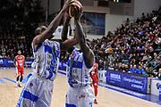DESCRIZIONE : Campionato 2014/15 Dinamo Banco di Sardegna Sassari - Giorgio Tesi Group Pistoia<br /> GIOCATORE : Shane Lawal Rakim Sanders<br /> CATEGORIA : Rimbalzo<br /> SQUADRA : Dinamo Banco di Sardegna Sassari<br /> EVENTO : LegaBasket Serie A Beko 2014/2015<br /> GARA : Dinamo Banco di Sardegna Sassari - Giorgio Tesi Group Pistoia<br /> DATA : 01/02/2015<br /> SPORT : Pallacanestro <br /> AUTORE : Agenzia Ciamillo-Castoria / Luigi Canu<br /> Galleria : LegaBasket Serie A Beko 2014/2015<br /> Fotonotizia : Campionato 2014/15 Dinamo Banco di Sardegna Sassari - Giorgio Tesi Group Pistoia<br /> Predefinita :