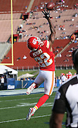 Kansas City Chiefs cornerback Marcus Peters (22) leaps and catches a pass with one hand while warming up before the 2016 NFL preseason football game against the Los Angeles Rams on Saturday, Aug. 20, 2016 in Los Angeles. The Rams won the game 21-20. (©Paul Anthony Spinelli)