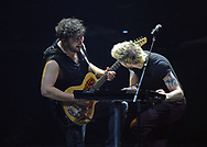 Walk the Moon guitarist Eli Maiman, left, and singer Nicholas Petricca, right, perform April 8, 2019, at Madison Square Garden in New York City. (Photo by Matt Smith)