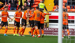 Dundee United's Lawrence Shankland celebrates after scoring their first goal. half time : Dundee United 3 v 0 Morton, Scottish Championship game played 28/9/2019 at Dundee United's stadium Tannadice Park.