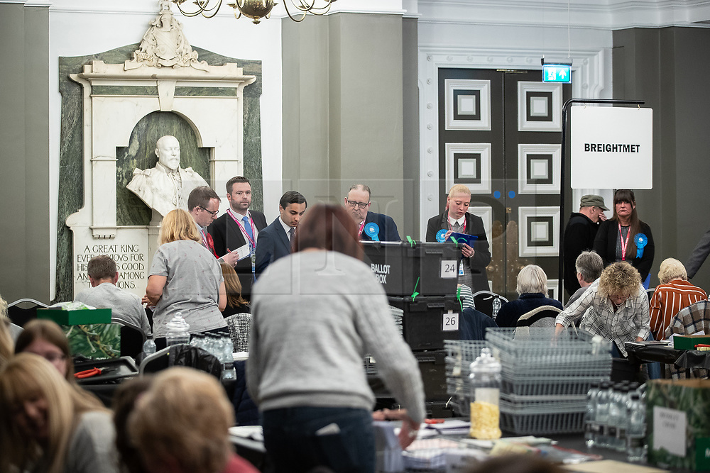 © Licensed to London News Pictures . 02/05/2019. Bolton, UK. The count for Bolton Council at Bolton Town Hall , overlooked by a statue of Edward VII. The Labour Party are threatened to lose their majority on the council . Local council elections are taking place across the country . Photo credit: Joel Goodman/LNP