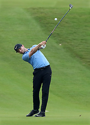 September 21, 2017 - Atlanta, GA, USA - Kyle Stanley hits his second shot from the fairway to the 18th green in the opening round of the Tour Championship on Thursday, Sept. 21, 2017, at Eastlake Golf Club in Atlanta. (Credit Image: © Curtis Compton/TNS via ZUMA Wire)