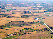 Aerial view of Juneau County, Wisconsin, with stream and wetlands in the foreground.