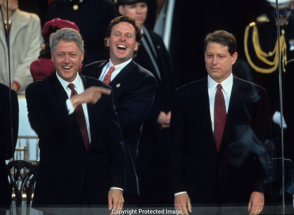 President Bill Clinton points to Vice Present Gore during the inaugural parade in 1997...Photograph by Dennis Brack bb30