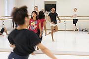 Universities in Vienna, Austria..Konservatorium Wien Privatuniversität..Modern dance class. The teacher (red t-shirt).