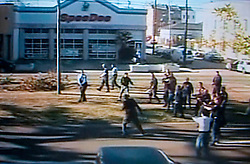 Dec 26th, 2005. Video grab courtesy New Orleans Channel 4 TV. Video showing knife wielding Anthony Hayes, (38 yrs) tries to flee when confronted by New Orleans police officers before he was gunned down on St Charles Avenue.