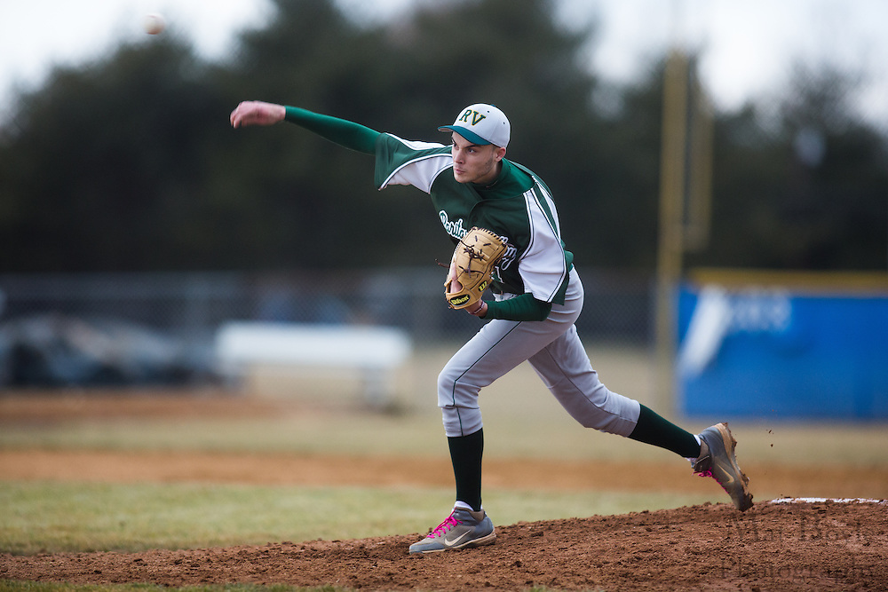 Raritan Valley Community College Baseball Sophomore Pitcher Clayton Shaw (4) - Raritan Valley Baseball hosted by Gloucester County College at Gloucester County College in Sewell, NJ on Friday March 1, 2013. (photo / Mat Boyle)