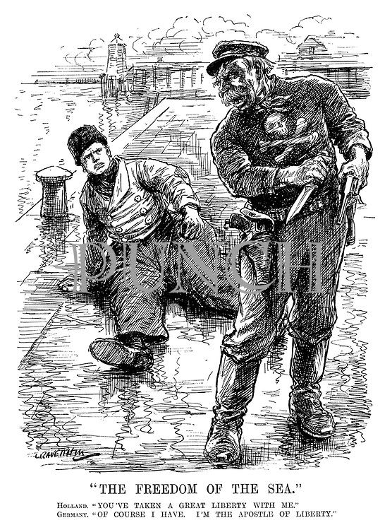 """""""The Freedom of the Sea."""" Holland. """"You've taken a great liberty with me."""" Germany. """"Of course I have. I'm the apostle of liberty."""" (a German pirate sailor knocks over a Dutch sailor while holding a dagger and a gun during WW1)"""