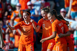 01-06-2019 NED: Netherlands - Australia, Eindhoven<br /> <br /> Friendly match in Philips stadion Eindhoven. Netherlands win 3-0 / Vivianne Miedema #9 of The Netherlands score 2-0, Lieke Martens #11 of The Netherlands, Merel van Dongen #4 of The Netherlands
