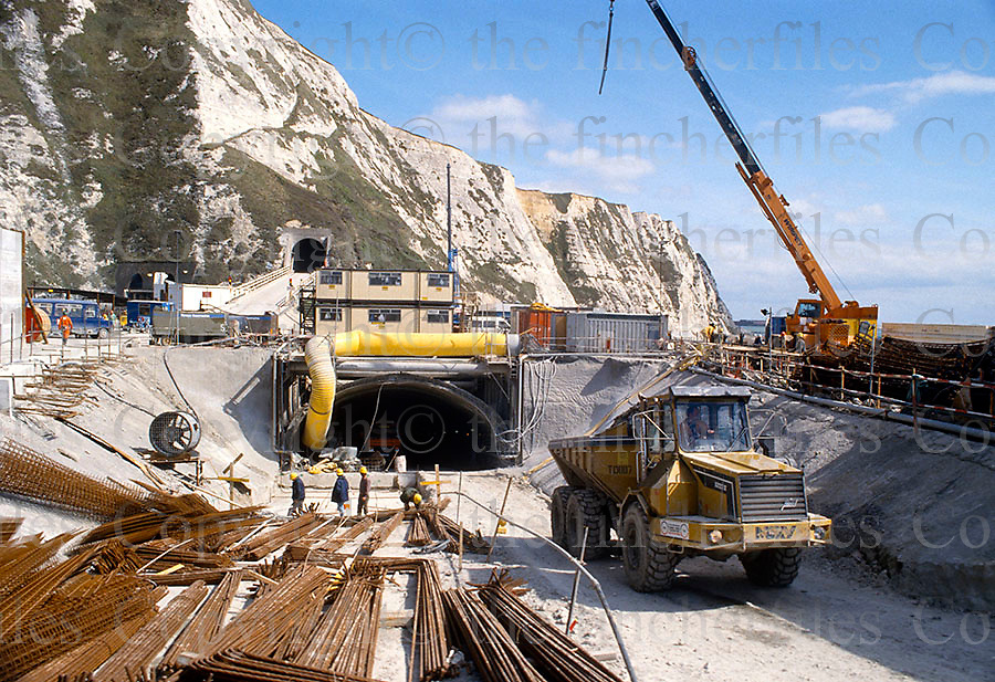 Entrance to the service tunnel during the digging of the Channel Euro-tunnel between UK and France in 1988.Photograph by Terry Fincher