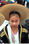 Girl age 12 wearing sombrero at Cinco de Mayo festival.  St Paul Minnesota USA