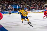 KELOWNA, BC - DECEMBER 18:  Philip Broberg #25 of Team Sweden skates with the puck against Team Russia at Prospera Place on December 18, 2018 in Kelowna, Canada. (Photo by Marissa Baecker/Getty Images)***Local Caption***